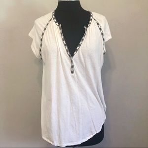Madewell White Flowy Western Rodeo Tunic